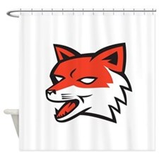 Red Fox Head Growling Retro Shower Curtain
