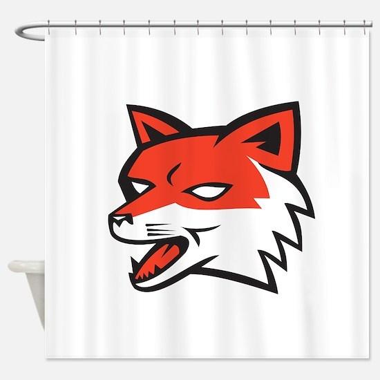 Red Fox Head Growling Retro Shower Curtain