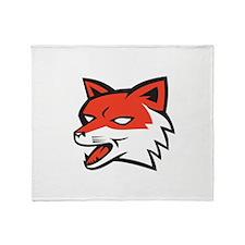 Red Fox Head Growling Retro Throw Blanket