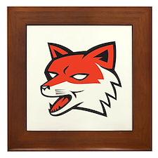 Red Fox Head Growling Retro Framed Tile