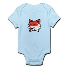 Red Fox Head Growling Retro Body Suit