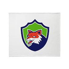 Red Fox Head Growling Shield Retro Throw Blanket