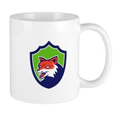 Red Fox Head Growling Shield Retro Mugs