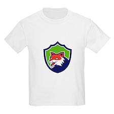 Red Fox Head Growling Shield Retro T-Shirt