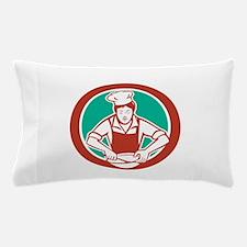 Female Chef Mixing Bowl Circle Retro Pillow Case