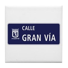 Calle Gran Vía, Madrid Tile Coaster