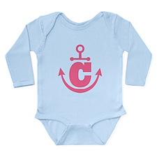 Cute Anchor Monogram C Long Sleeve Infant Bodysuit