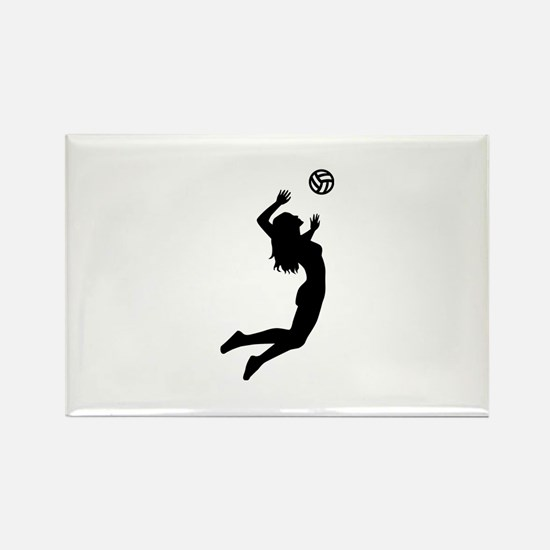 Volleyball girl Rectangle Magnet (10 pack)