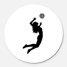 Volleyball girl Round Car Magnet