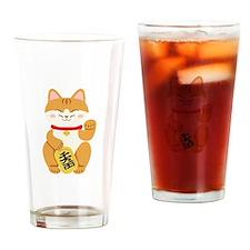 Maneki Neko Japanese Figurine Cat Drinking Glass