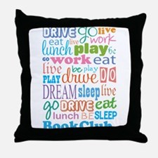 Eat Sleep Book Club Throw Pillow