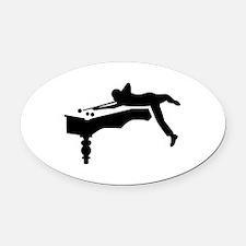 Billiards player Oval Car Magnet