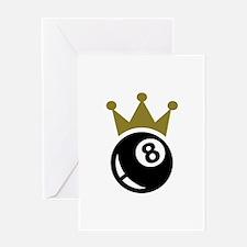 Eight ball billiards crown Greeting Card