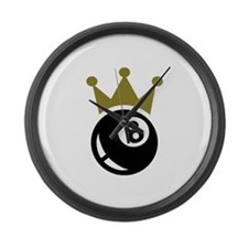Eight ball billiards crown Large Wall Clock
