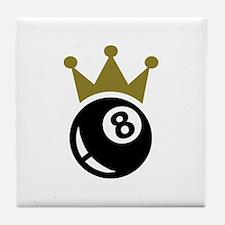 Eight ball billiards crown Tile Coaster