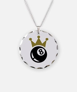 Eight ball billiards crown Necklace