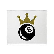Eight ball billiards crown Throw Blanket