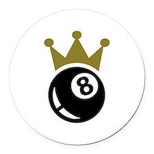 Eight ball billiards crown Round Car Magnet