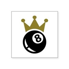 "Eight ball billiards crown Square Sticker 3"" x 3"""