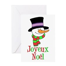 Joyeux Noel French Snowman Card Greeting Cards