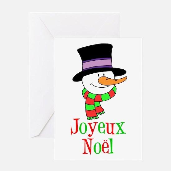 Joyeux Noel French Snowman Card Greeting Cards
