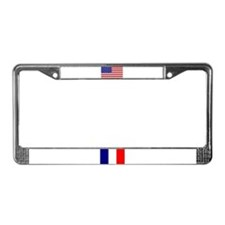 Flags of France & USA License Plate Frame