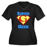 Super Geek Women's Plus Size V-Neck Dark T-Shirt