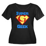 Super Geek Women's Plus Size Scoop Neck Dark T-Shi