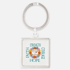 Faith Strength Courage CRPS RSD Awarenes Keychains
