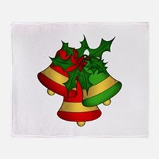 Christmas Bells and Holly Throw Blanket