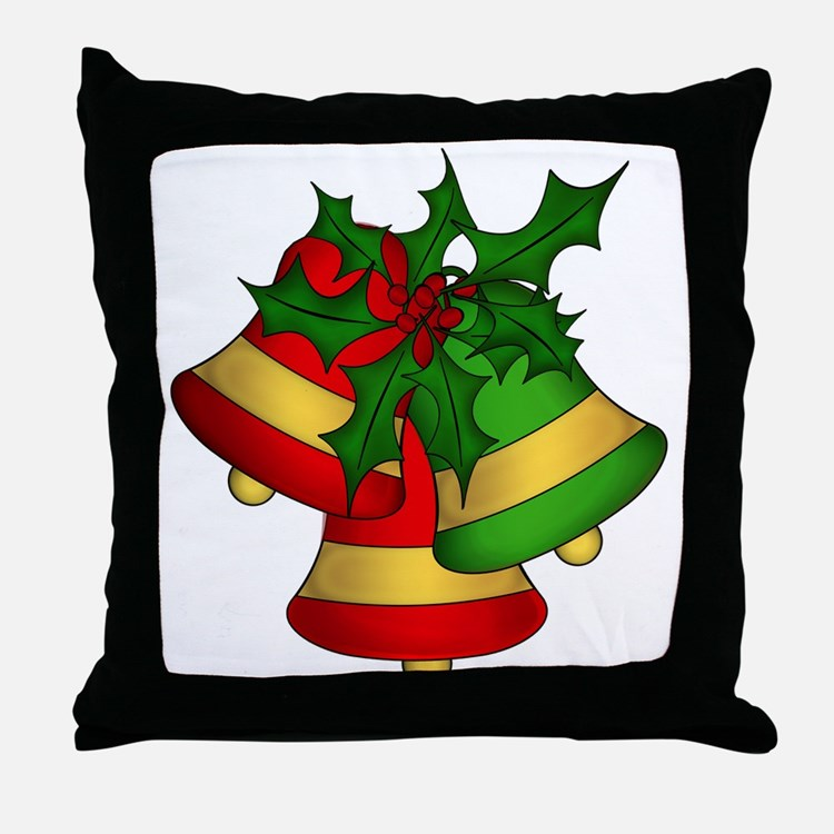 Christmas Bells and Holly Throw Pillow