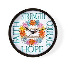 Faith Strength Courage CRPS RSD Awarene Wall Clock