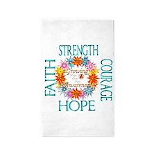 Faith Strength Courage CRPS RSD Awa 3'x5' Area Rug