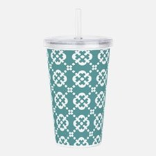 Cadet Blue and White Q Acrylic Double-wall Tumbler