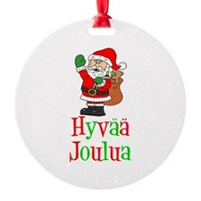Hyvaa Joulua Santa Ornament
