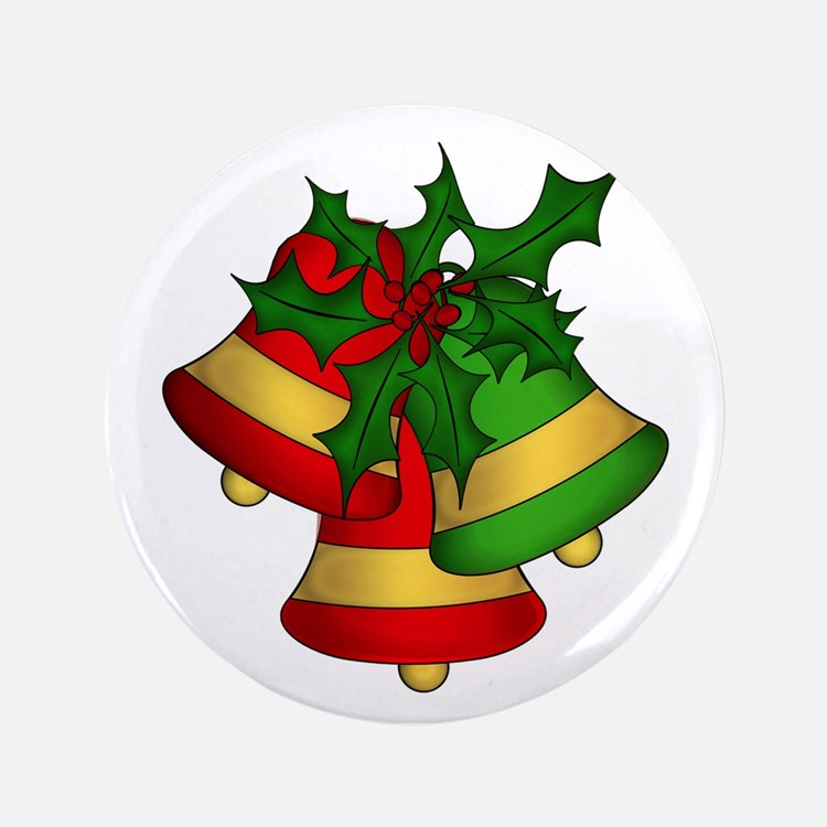 """Christmas Bells and Holly 3.5"""" Button"""