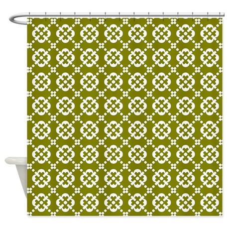 Olive Green And White Quatrefoil Do Shower Curtain By Bimbys
