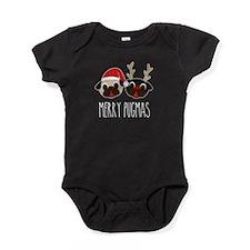 Christmas Merry Pugmas Pug Santa & R Baby Bodysuit