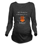 Christmas Kitten Long Sleeve Maternity T-Shirt