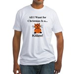 Christmas Kitten Fitted T-Shirt