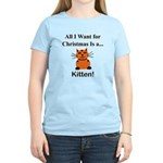 Christmas Kitten Women's Light T-Shirt