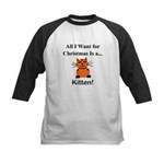 Christmas Kitten Kids Baseball Jersey
