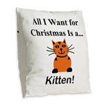 Christmas Kitten Burlap Throw Pillow