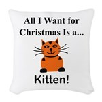 Christmas Kitten Woven Throw Pillow