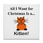 Christmas Kitten Tile Coaster