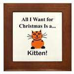 Christmas Kitten Framed Tile