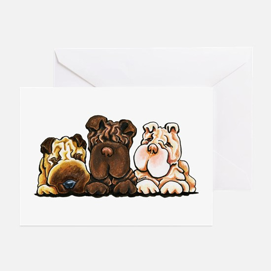 3 Chinese Shar Pei Greeting Cards