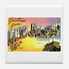 Greetings from New Jersey Tile Coaster