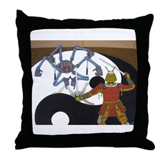 Robot vs Samurai Throw Pillow