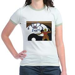 Robot vs Samurai Jr. Ringer T-Shirt